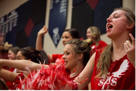 Amy Shepard, a senior, cheers at the annual Sandpoint v. Bonners Ferry spirit competition, Moose Madness. Crowd photos are sometimes neglected in sporting events, but often a great deal of emotional response can be captured here as well.