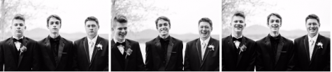 "[Left to Right in Photo] Cooper King (11), Preston Cole (12), and Jackson Russo (12) before Sandpoint High School's prom. In the left-hand image, King is not taking the ""serious photo"" seriously; at center, Cole and Russo react to King; at right, a final photo depicts the end result of the shoot. Sequences can be used effectively in sports photography or other fast-action photos, but also in emotional situations like this one. Make sure to depict a beginning-middle-end in these photos as a plot can be captured in a sequence."