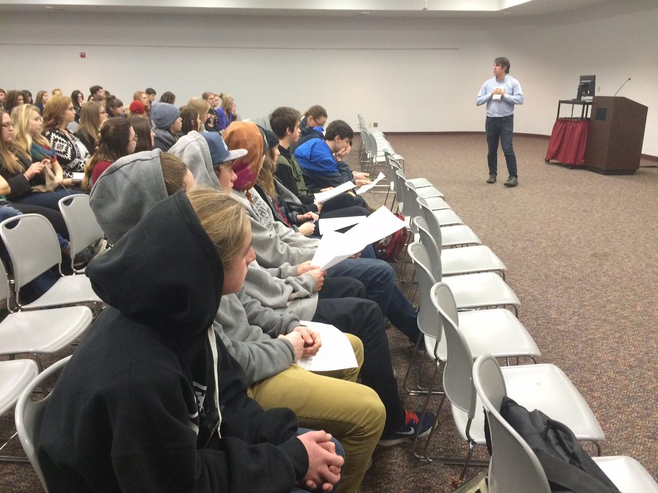 North Idaho College journalism instructor Geoff Carr addresses students at the 2014 high school journalism convention and contest.